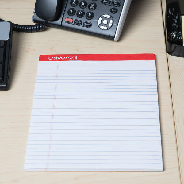 Universal UNV20630 Legal Ruled White Perforated Edge Writing Pad, Letter - 12/Pack Main Image 6