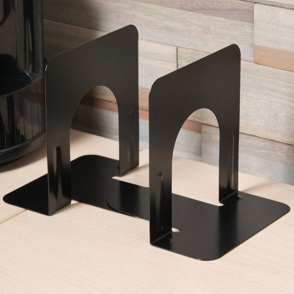 "Universal UNV54051 4 3/4"" x 5 1/4"" x 5"" Black Heavy-Gauge Steel Economy Bookends Main Image 5"