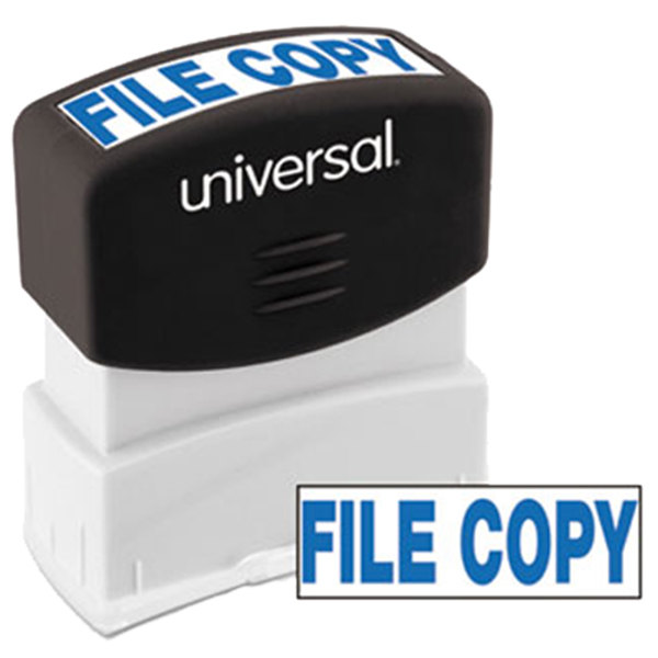 "Universal UNV10104 1 11/16"" x 9/16"" Blue Pre-Inked File Copy Message Stamp"