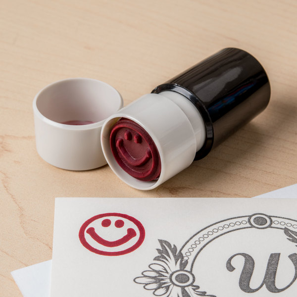 """Universal UNV10080 3/4"""" Round Red Pre-Inked Smile Face Stamp"""