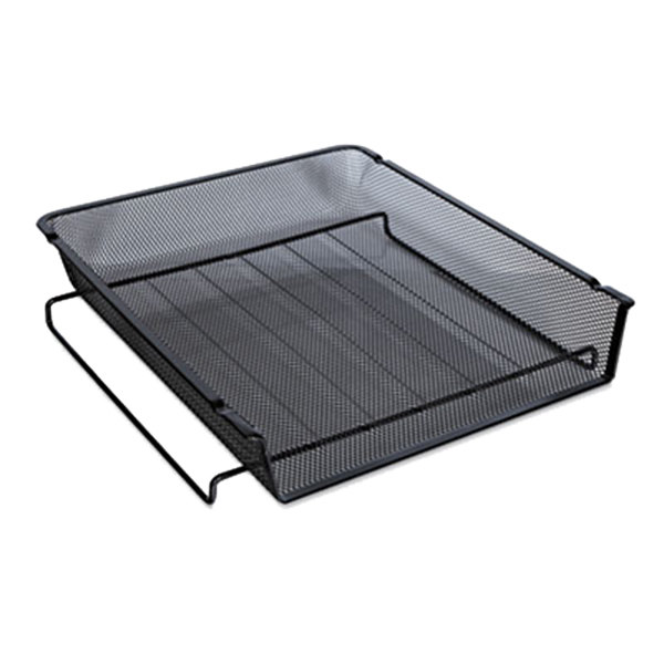 """Universal UNV20004 13"""" x 10 3/4"""" x 2 3/4"""" Black Front Load Stackable Mesh Tray, Letter Main Image 1"""
