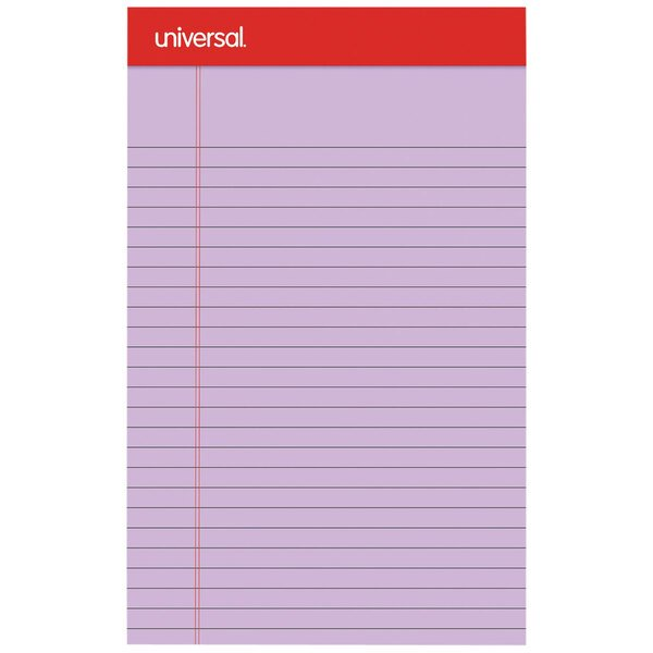 """Universal UNV35854 5"""" x 8"""" Narrow Rule Orchid Perforated Note Pad - 12/Pack Main Image 1"""