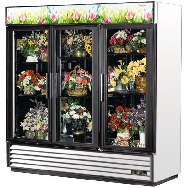 True GDM-72FC-HC~TSL01 78 1/8 inch White Glass Door Refrigerated Floral Case
