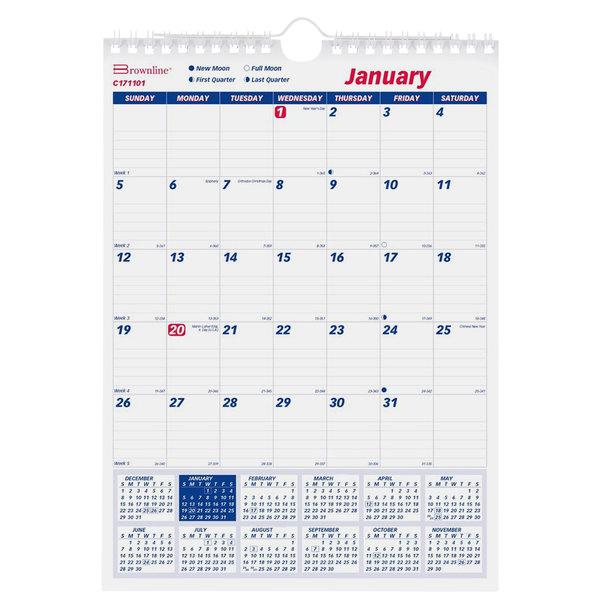 "Brownline C171101 8"" x 11"" Monthly January 2020 - December 2020 Twin Wirebound Wall Calendar"