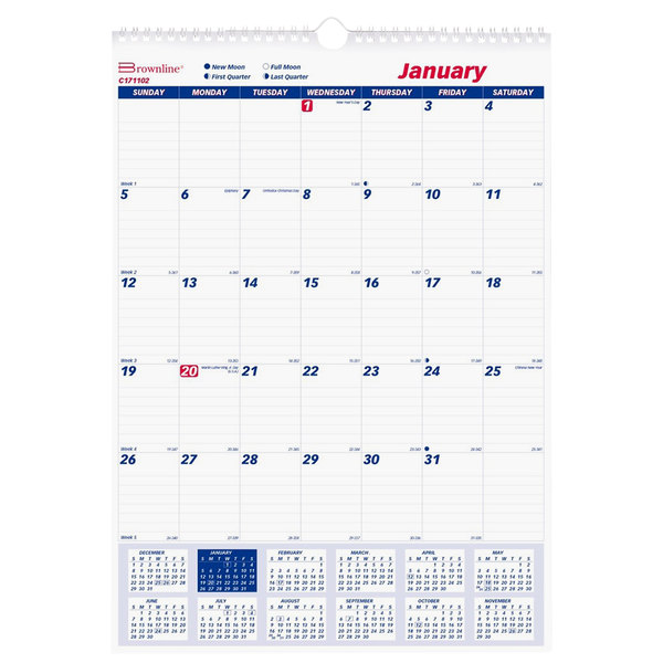 "Brownline C171102 17"" x 12"" Monthly January 2021 - December 2021 Twin Wirebound Wall Calendar Main Image 1"