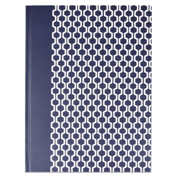 "Universal UNV66351 10 1/4"" x 7 5/8"" Dark Blue Hexagon Standard Ruled Casebound Notebook - 150 Sheets"