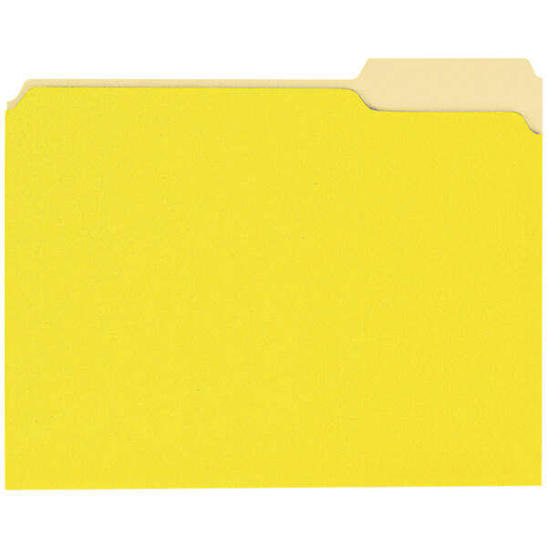 Universal UNV10504 Letter Size File Folder - Standard Height with 1/3 Cut Assorted Tab, Yellow - 100/Box Main Image 1