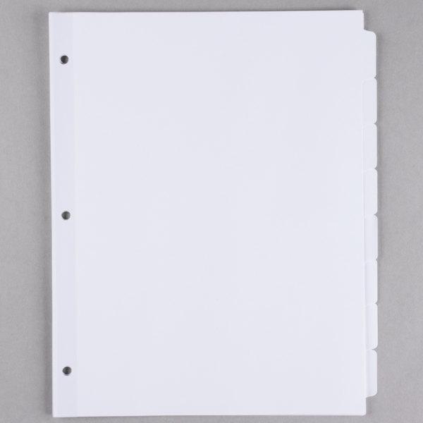 Universal UNV20845 White 8-Tab Divider Set  - 24/Box