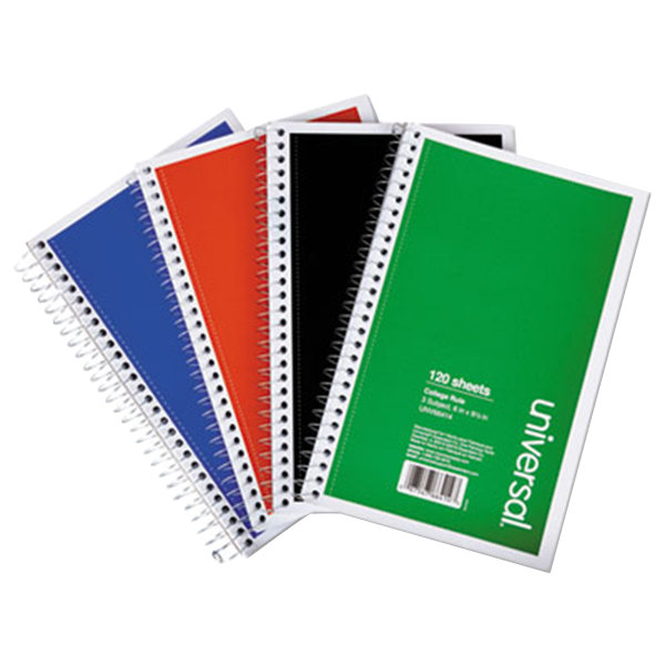 "Universal UNV66414 9 1/2"" x 6"" Assorted Colors 3 Subject College Ruled Wirebound Notebook, 120 Sheets - 4/Pack"