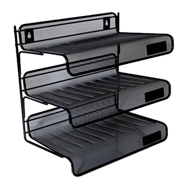 "Universal UNV20006 12 1/2"" x 9 1/4"" x 12 1/2"" Black 3 Section Mesh Desk Shelf Main Image 1"