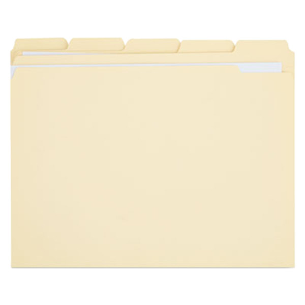 Universal UNV16115 Letter Size File Folder - Standard Height with 2-Ply 1/5 Cut Assorted Tab, Manila - 100/Box Main Image 1