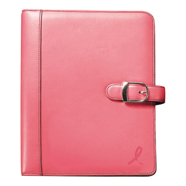 "Day-Timer 48434 5 1/2"" x 8 1/2"" Pink Ribbon Loose-Leaf Organizer Set with Pink Leather Cover Main Image 1"