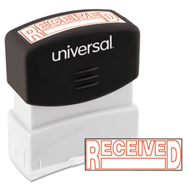 "Universal UNV10067 1 11/16"" x 9/16"" Red Pre-Inked Received Message Stamp Main Image 1"