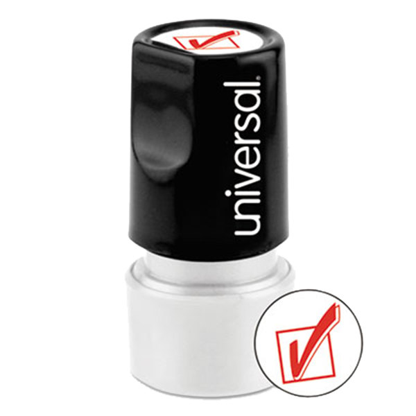 """Universal UNV10075 3/4"""" Round Red Pre-Inked Checkmark Stamp Main Image 1"""