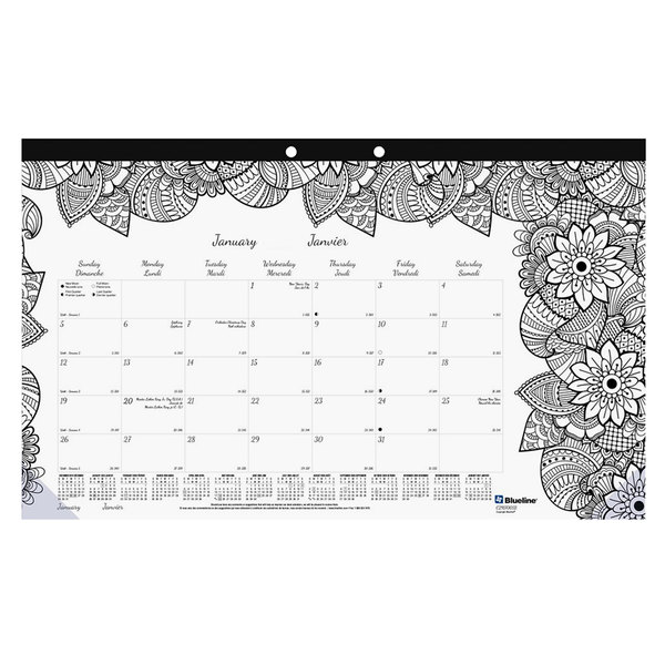 "Blueline C2917001 DoodlePlan 17 3/4"" x 10 7/8"" Botanical Monthly January 2020 - December 2020 Desk Pad Calendar with Coloring Pages"