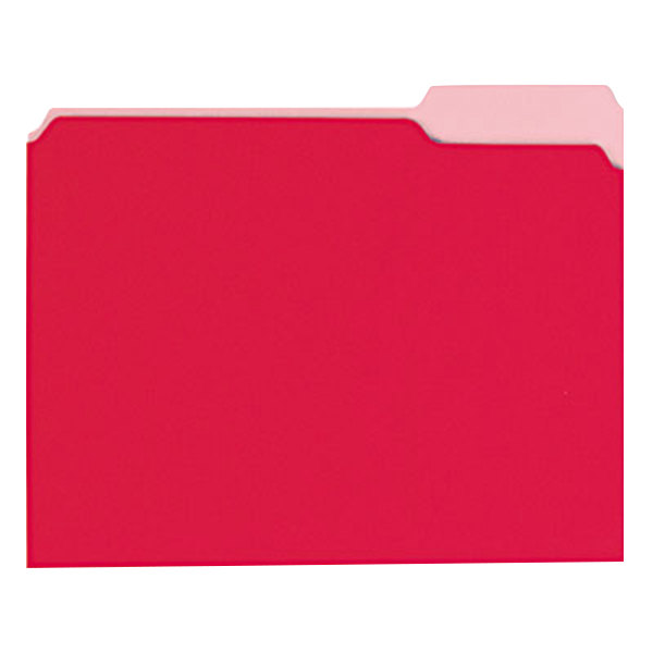 Universal UNV12303 Letter Size File Folder - Interior Height with 1/3 Cut Assorted Tab, Red - 100/Box