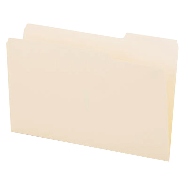 Universal UNV15123 Legal Size File Folder - Standard Height with 1/3 Cut Right Tab, Manila - 100/Box Main Image 1