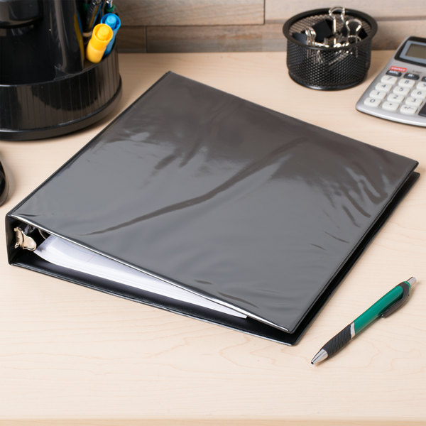 "Avery 5725 Black Economy View Binder with 1 1/2"" Round Rings Main Image 4"