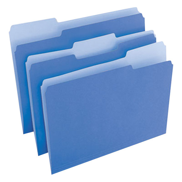 Universal UNV10501 Letter Size File Folder - Standard Height with 1/3 Cut Assorted Tab, Blue - 100/Box Main Image 1