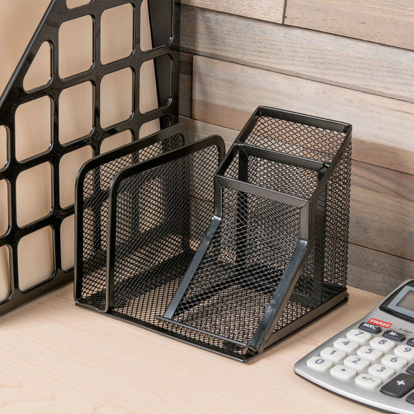 "Universal UNV20002 5 3/4"" x 5 1/8"" x 5 1/8"" Black 4 Section Wire Mesh Desk Organizer"