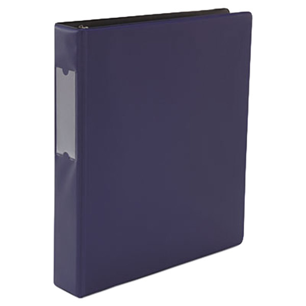 "Universal UNV20778 Navy Blue Non-View Binder with 1 1/2"" Slant Rings and Spine Label Holder"