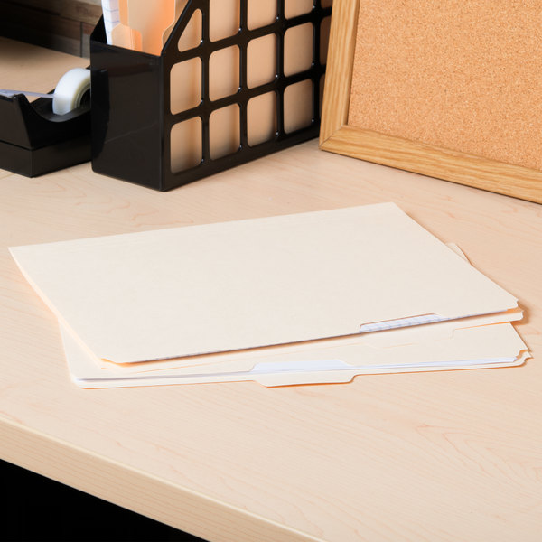 Universal UNV12115 Letter Size File Folder - Standard Height with 1/5 Cut Assorted Tab, Manila - 100/Box