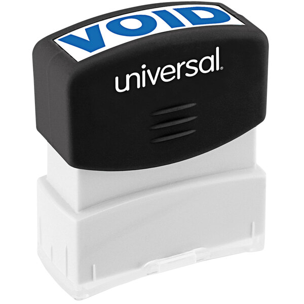 """Universal UNV10071 1 11/16"""" x 9/16"""" Blue Pre-Inked Void Message Stamp Main Image 1"""