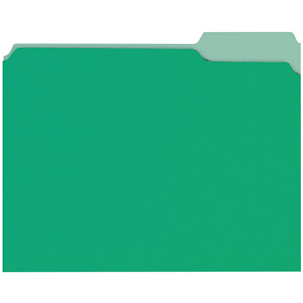 Universal UNV10502 Letter Size File Folder - Standard Height with 1/3 Cut Assorted Tab, Green - 100/Box Main Image 1
