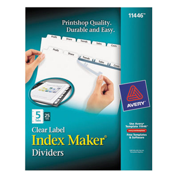 Avery 11446 Index Maker 5-Tab Divider Set with Clear Label Strip - 25/Box Main Image 1