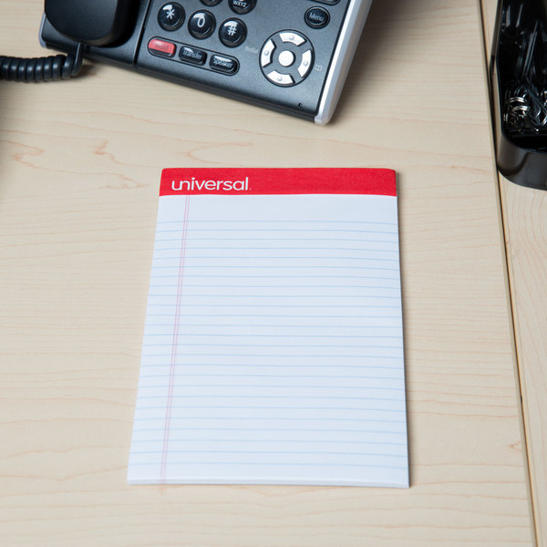 "Universal UNV46300 5"" x 8"" Narrow Ruled White Perforated Edge Writing Pad - 12/Case Main Image 6"