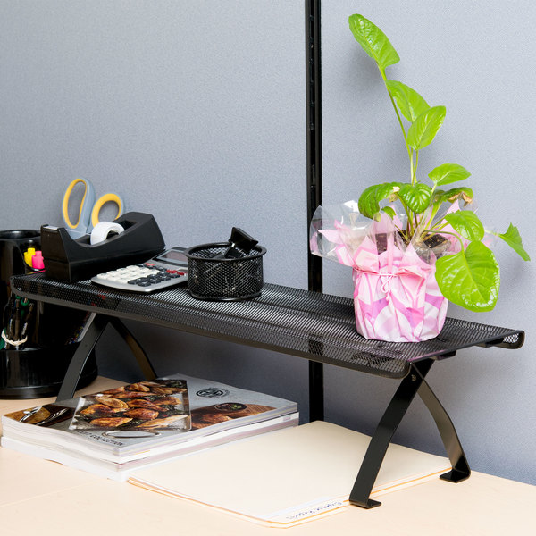 "Universal UNV20009 26 1/8"" x 7"" x 7"" Black Off-Desk Mesh Shelf"