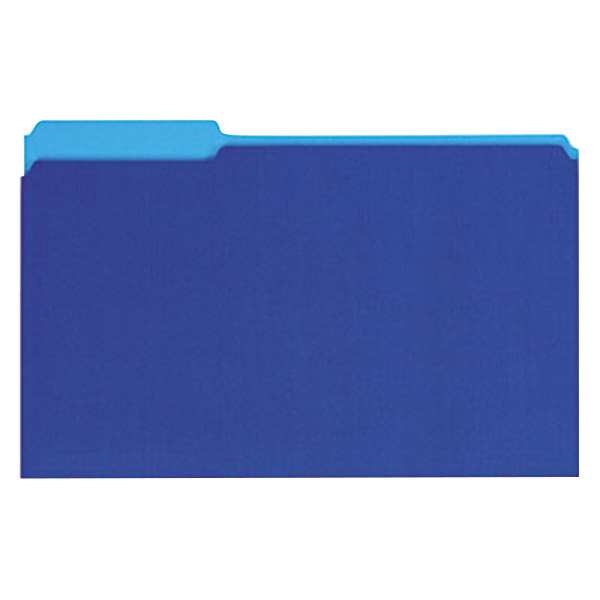 Universal UNV15301 Legal Size File Folder - Interior Height with 1/3 Cut Assorted Tab, Blue - 100/Box Main Image 1