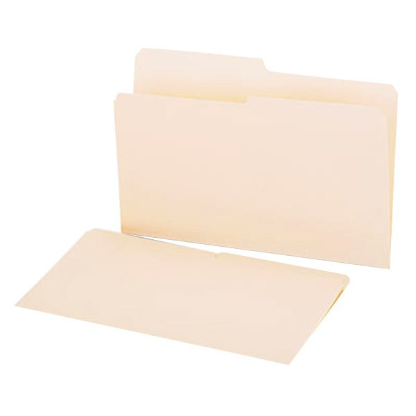 Universal UNV15112 Legal Size File Folder - Standard Height with 1/2 Cut Assorted Tab, Manila - 100/Box Main Image 1