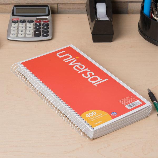 "Universal UNV48003 Wirebound Message Book, 5"" x 3 3/8"" 2-Part Carbonless, 400-Set Book Main Image 3"