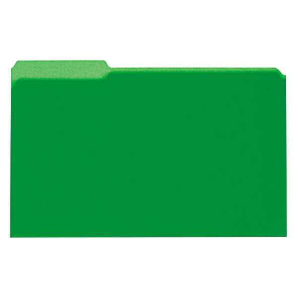 Universal UNV15302 Legal Size File Folder - Interior Height with 1/3 Cut Assorted Tab, Green - 100/Box Main Image 1