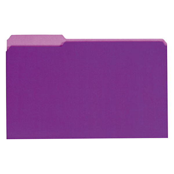 Universal UNV15305 Legal Size File Folder - Interior Height with 1/3 Cut Assorted Tab, Violet - 100/Box
