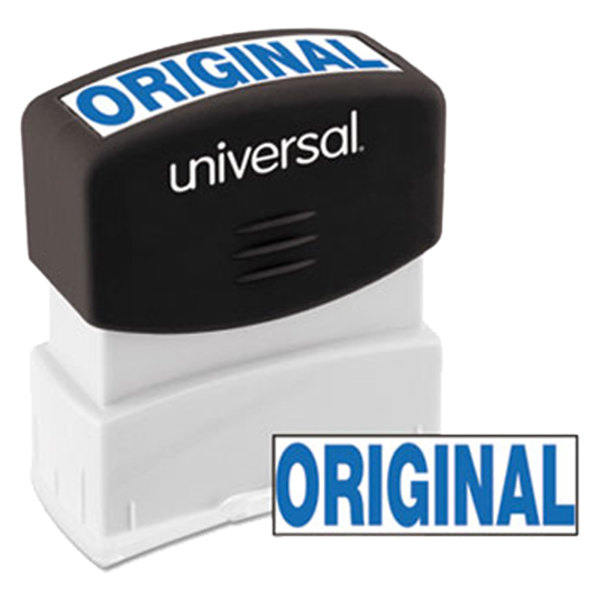 "Universal UNV10060 1 11/16"" x 9/16"" Blue Pre-Inked Original Message Stamp Main Image 1"