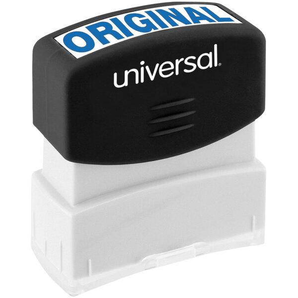 "Universal UNV10060 1 11/16"" x 9/16"" Blue Pre-Inked Original Message Stamp Main Image 1"