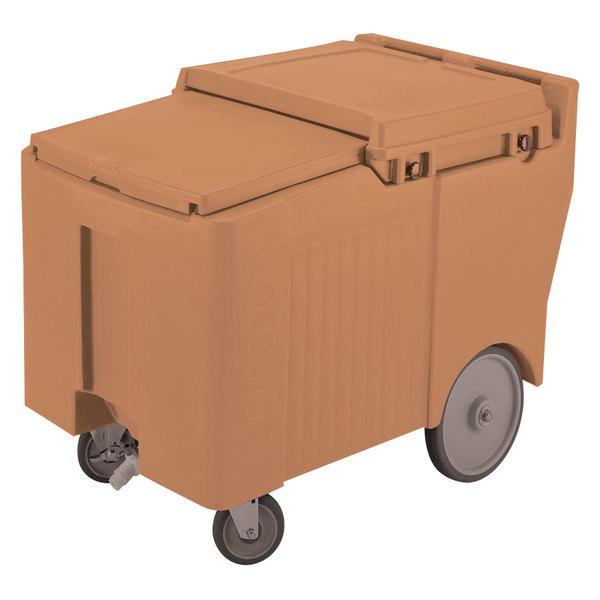 Cambro ICS125LB157 Coffee Beige Sliding Lid Portable Ice Bin - 125 lb. Capacity