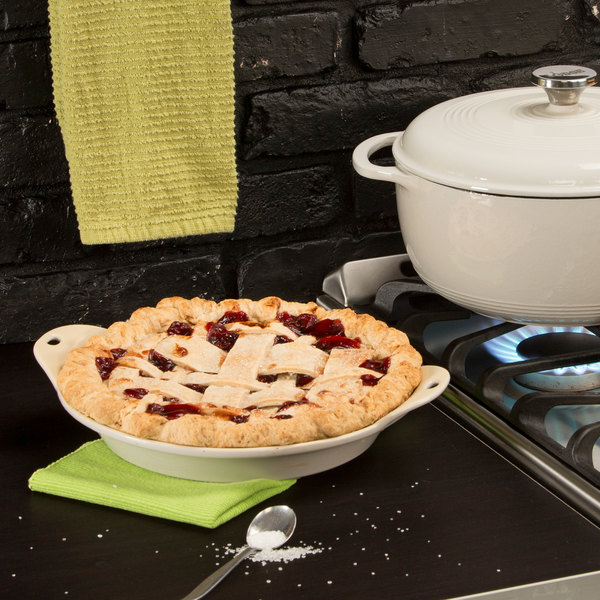 Baked pie in a stoneware baking dish