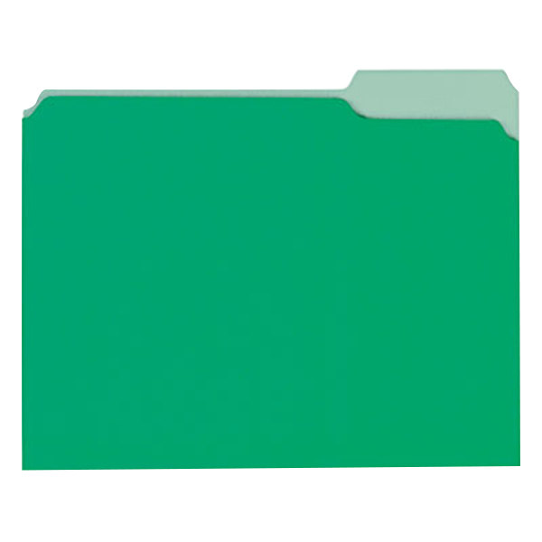 Universal UNV12302 Letter Size File Folder - Interior Height with 1/3 Cut Assorted Tab, Green - 100/Box Main Image 1