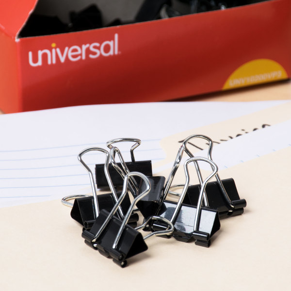 "Universal UNV10200VP3 3/8"" Capacity Black Small Binder Clip - 36/Pack Main Image 7"