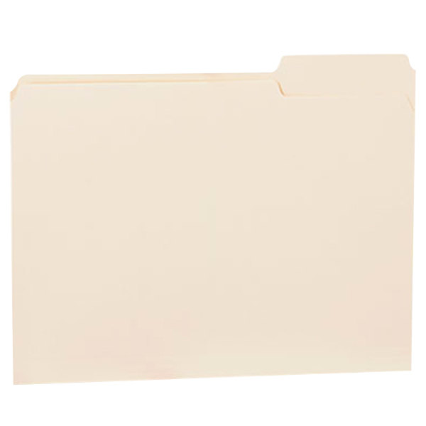 Universal UNV12123 Letter Size File Folder - Standard Height with 1/3 Cut Right Tab, Manila - 100/Box