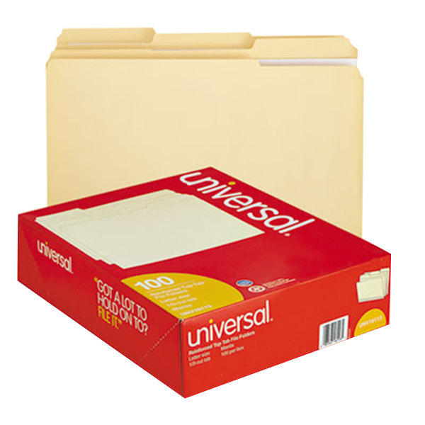 Universal UNV16113 Letter Size File Folder - Standard Height with 2-Ply 1/3 Cut Assorted Tab, Manila - 100/Box Main Image 1