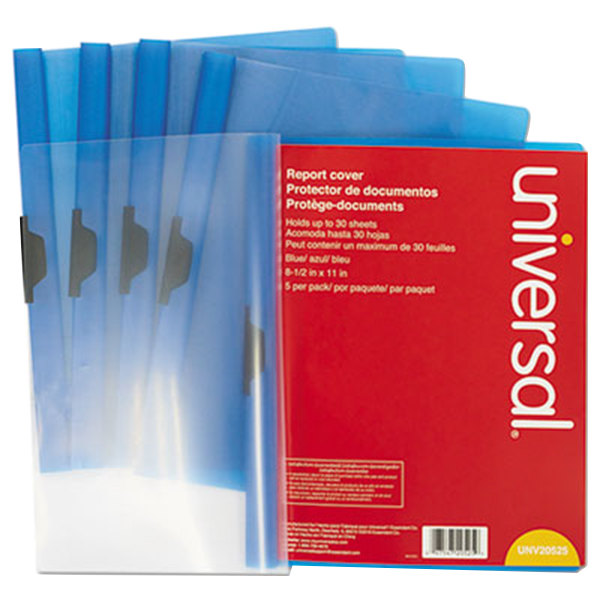 "Universal Office UNV20525 11"" x 8 1/2"" Blue Plastic Report Cover with Clear Cover and Clip Fastener, Letter - 5/Pack Main Image 1"