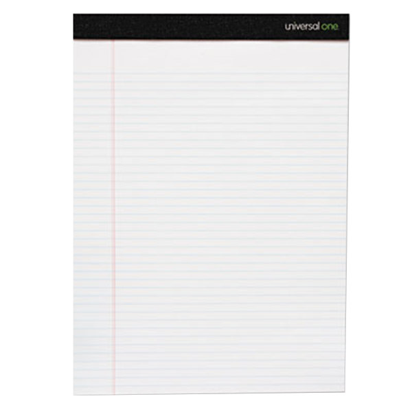 Universal UNV30630 Legal Rule White Premium Ruled Writing Pad, Letter - 6/Pack Main Image 1