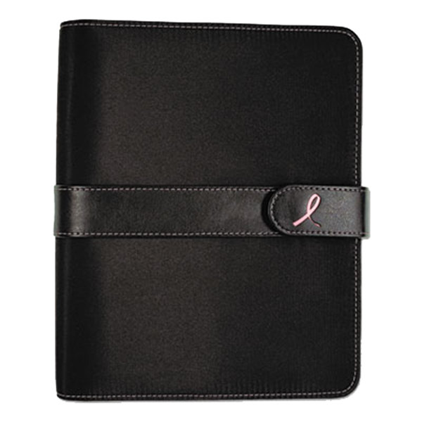 "Day-Timer 48391 5 1/2"" x 8 1/2"" Pink Ribbon Loose-Leaf Organizer Set with Black Microfiber Cover Main Image 1"