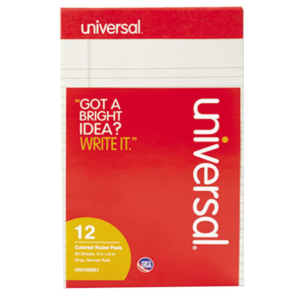 "Universal UNV35851 5"" x 8"" Narrow Rule Gray Perforated Note Pad - 12/Pack"