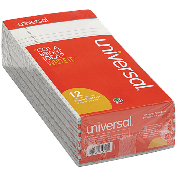 """Universal UNV35851 5"""" x 8"""" Narrow Rule Gray Perforated Note Pad - 12/Pack Main Image 1"""