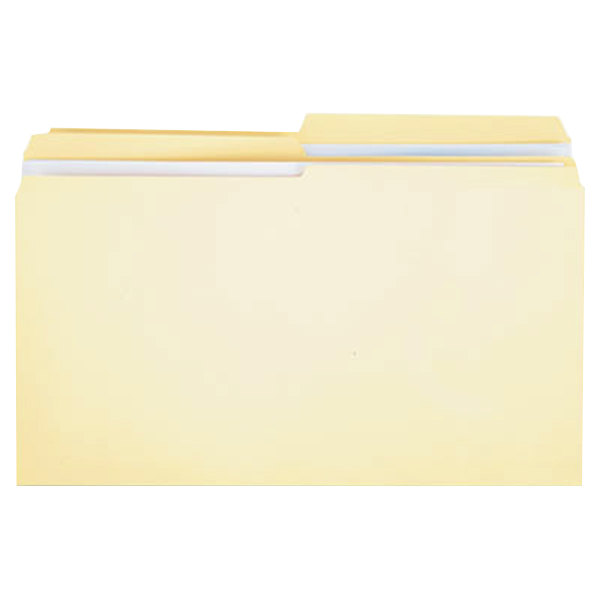 Universal UNV16122 Legal Size File Folder - Standard Height with 2-Ply 1/2 Cut Assorted Tab, Manila - 100/Box Main Image 1